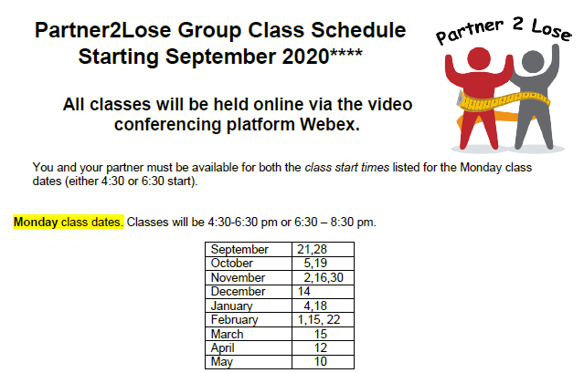 Preview of the Group Class Schedule